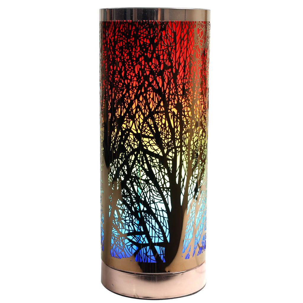 Cylinder Touch Lamp Branches Pattern - Rainbow