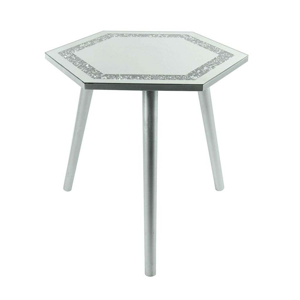 Mirrored Glass MultiCrystal Hexagon Side Table 48x42x45cm - Bonnypack