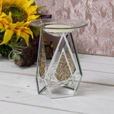 Mirrored Glass Oil Warmer Wax Melt Burner Gold Crystal - Bonnypack