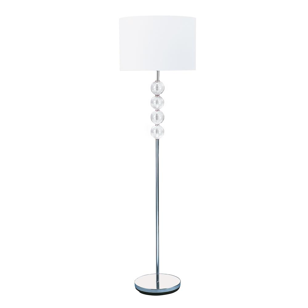 Modern Chrome Glass Ball White Shade Standing Floor Lamp Light - Bonnypack