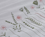 Embroidered Countryside Flowers King Duvet Set - Green Blush