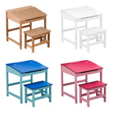 Kids Desk Table And Stool Chair Seat Furniture Set - Pink