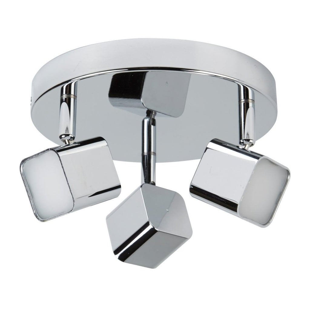 Quad 3 Lights LED Chrome Square Shaped Head Spot Plate Ceiling Light - Bonnypack