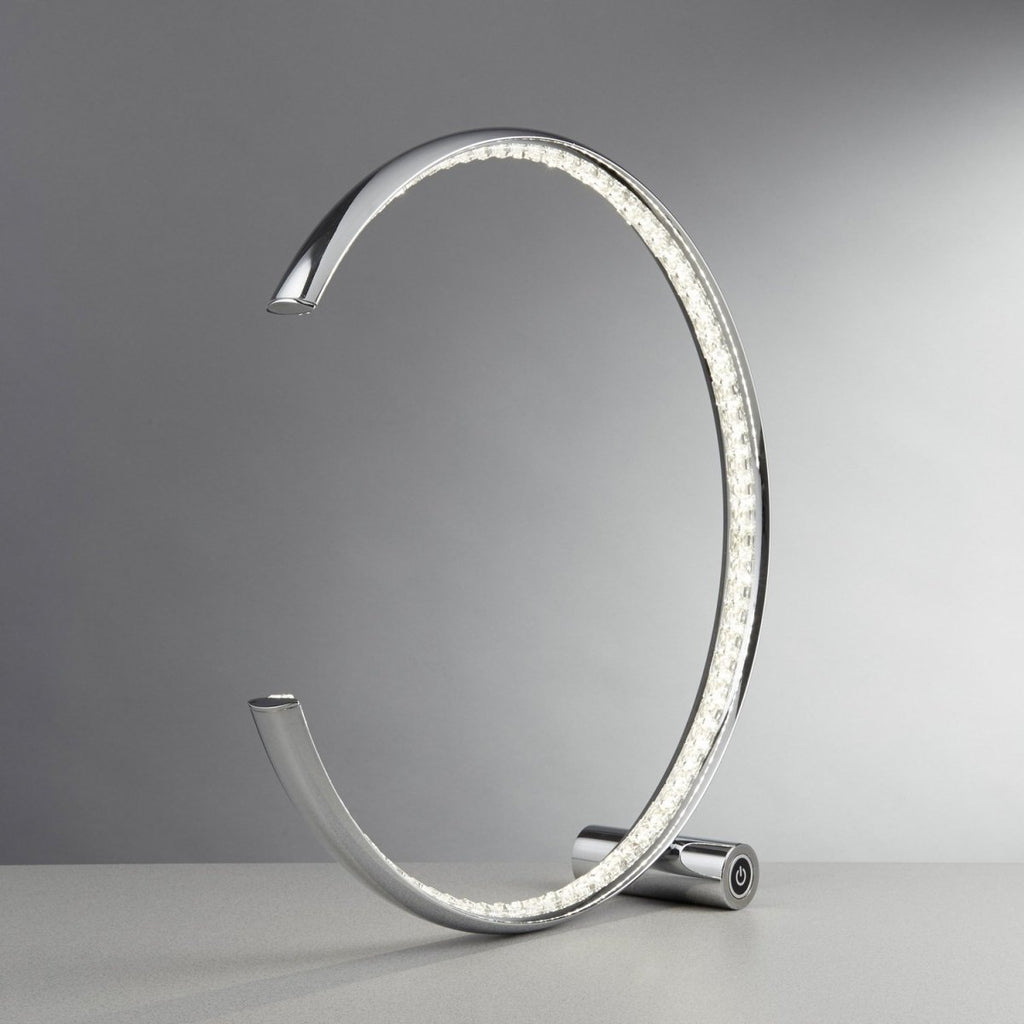 Rings LED Chrome Clear Crystal Semi Circle Coffee Table Lamp Light - Bonnypack
