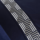 Geometric Riva Super King Duvet Cover Set - Navy Blue