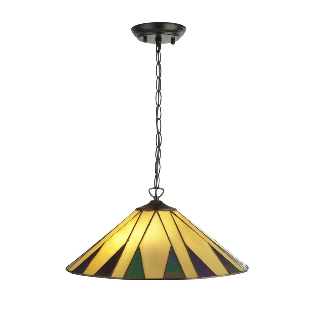 Searchlight Charleston Tiffany 2 Light Pendant Yellow/Multi - Bonnypack