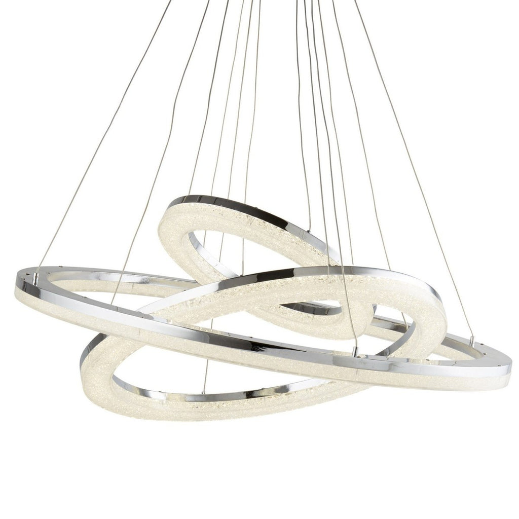 Searchlight Circle LED 3 Ring Chrome Crushed Ice Effect Pendant Ceiling Light - Bonnypack