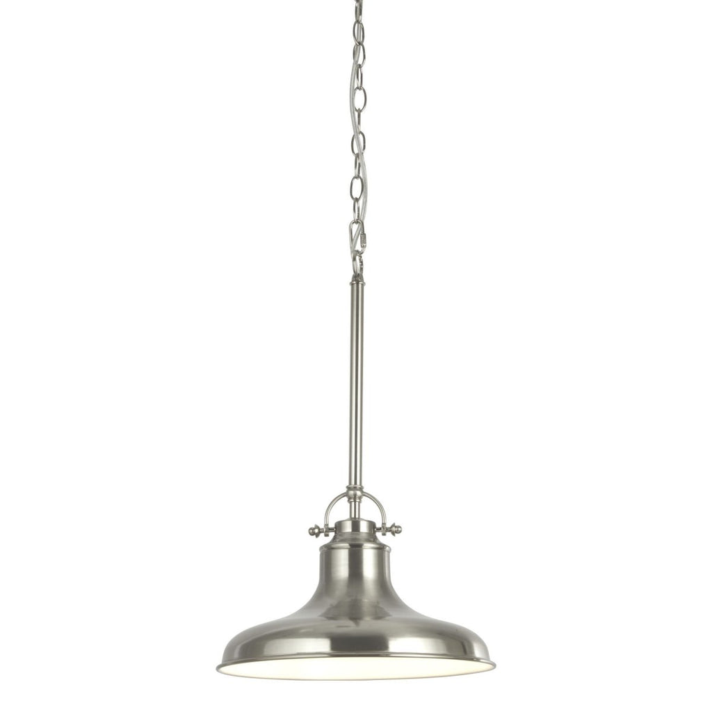 Searchlight Dallas 1 Light Industrial Pendant Satin Silver - Bonnypack