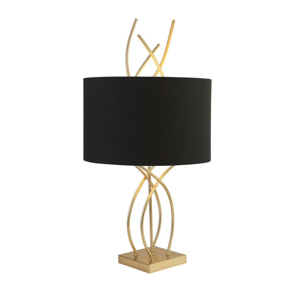 Searchlight Flame Table Lamp With Ab Base And Black Shade - Bonnypack