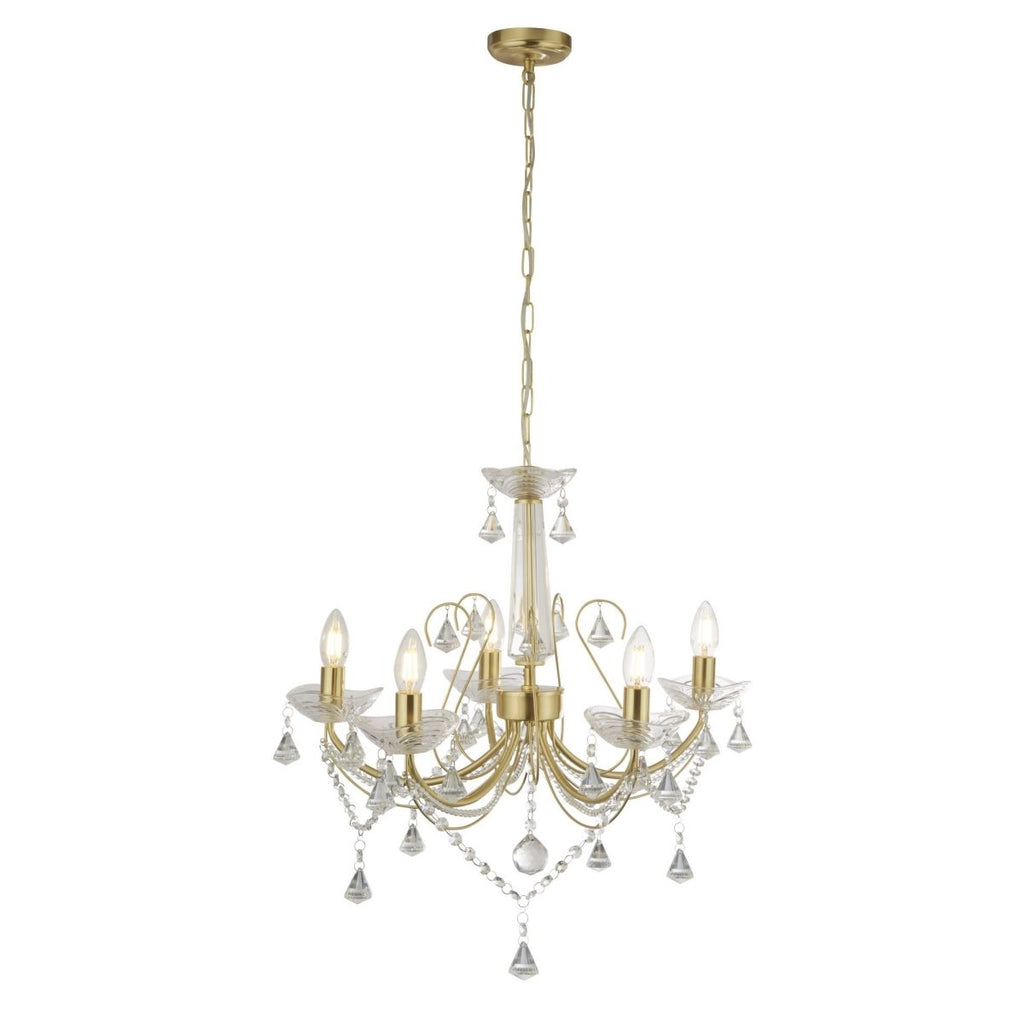 Searchlight Lafayette 5 Light Ceiling Gold Clear Crystal - Bonnypack