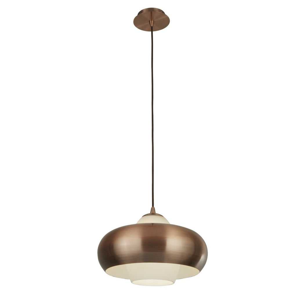 Searchlight Pendant 1 Light Antique Copper With Opal Glass - Bonnypack