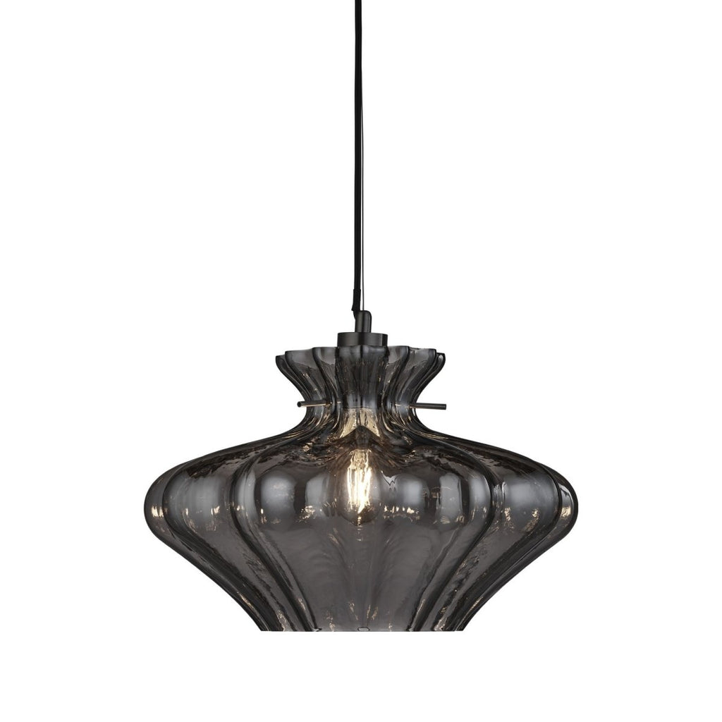 Searchlight Pendant 1 Light Smoked Glass With SS - Bonnypack