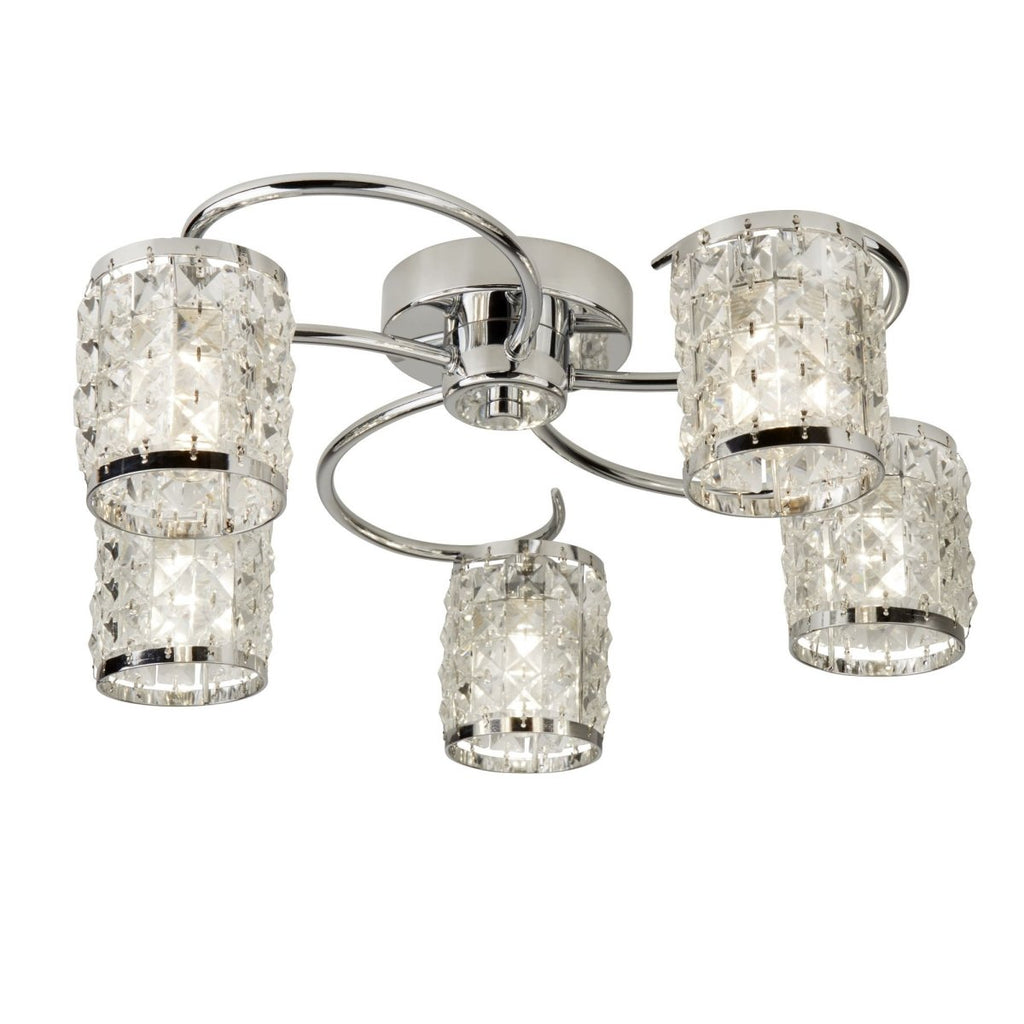 Searchlight Royal 5 Light Flush Chrome With Crystal Glass - Bonnypack