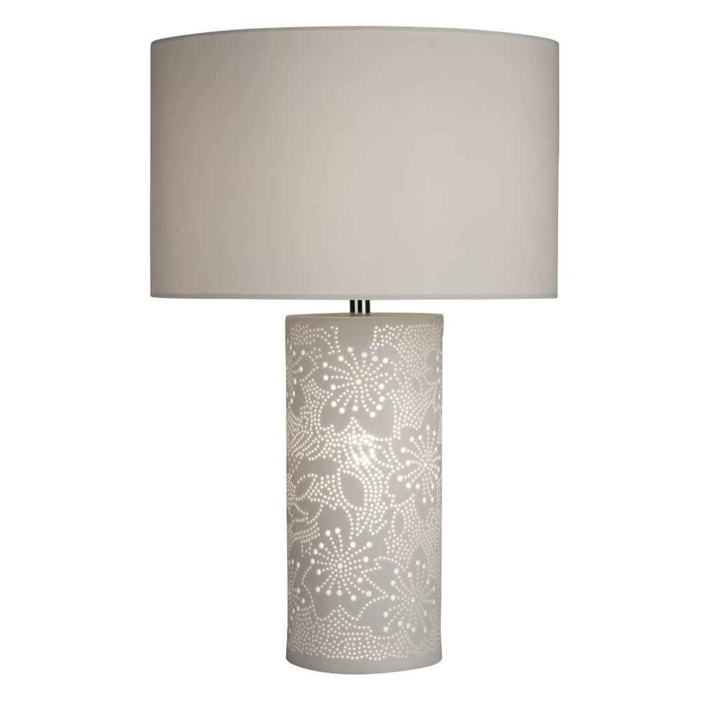 Searchlight Stencil Patterned White Ceramic Dual Light Table Lamp - Bonnypack