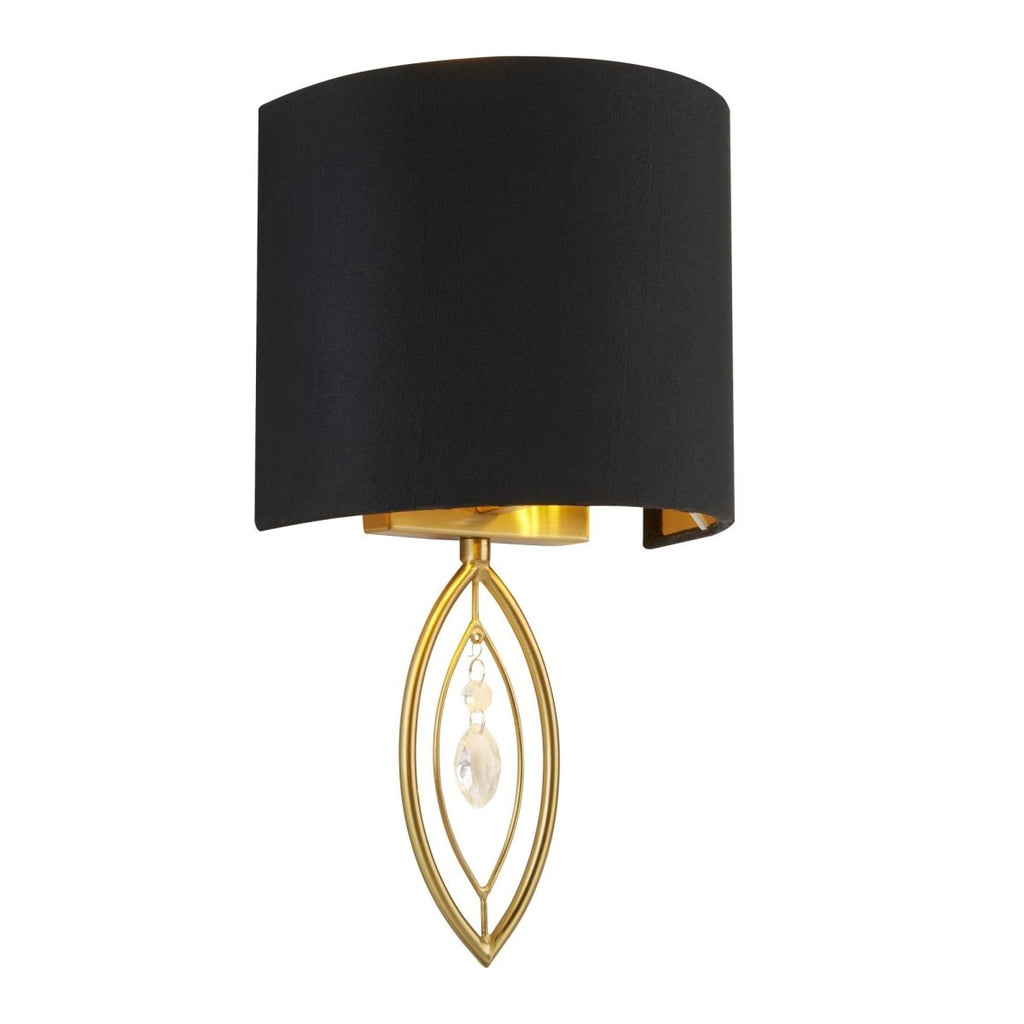 Searchlight Wall Light Gold With Black Shade And Crystal Drop - Bonnypack