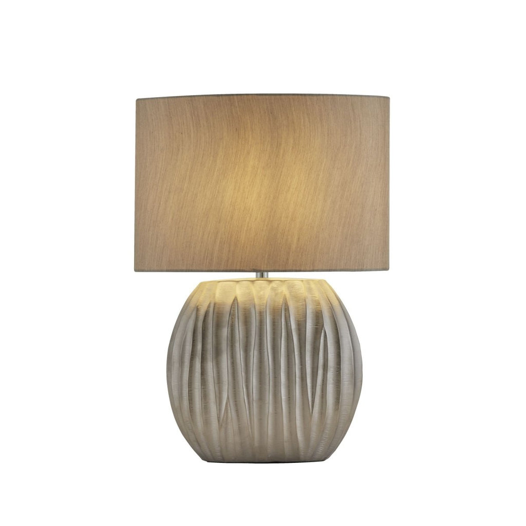 Searchlight Zenna Silver Table Lamp With Silver Oval Shade - Bonnypack