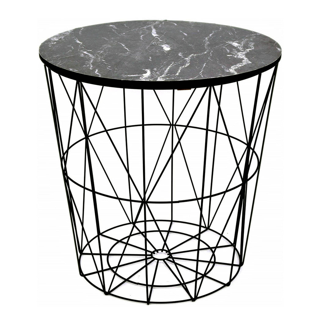 Black Marble Effect Wire Side Table Bonnypack