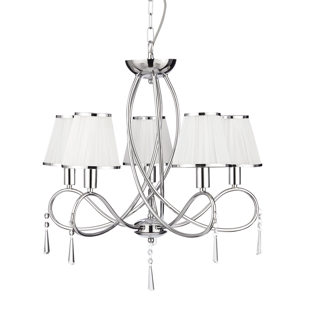 Simplicity 5 Lights Chrome White Shades Ceiling Fitting Chandelier