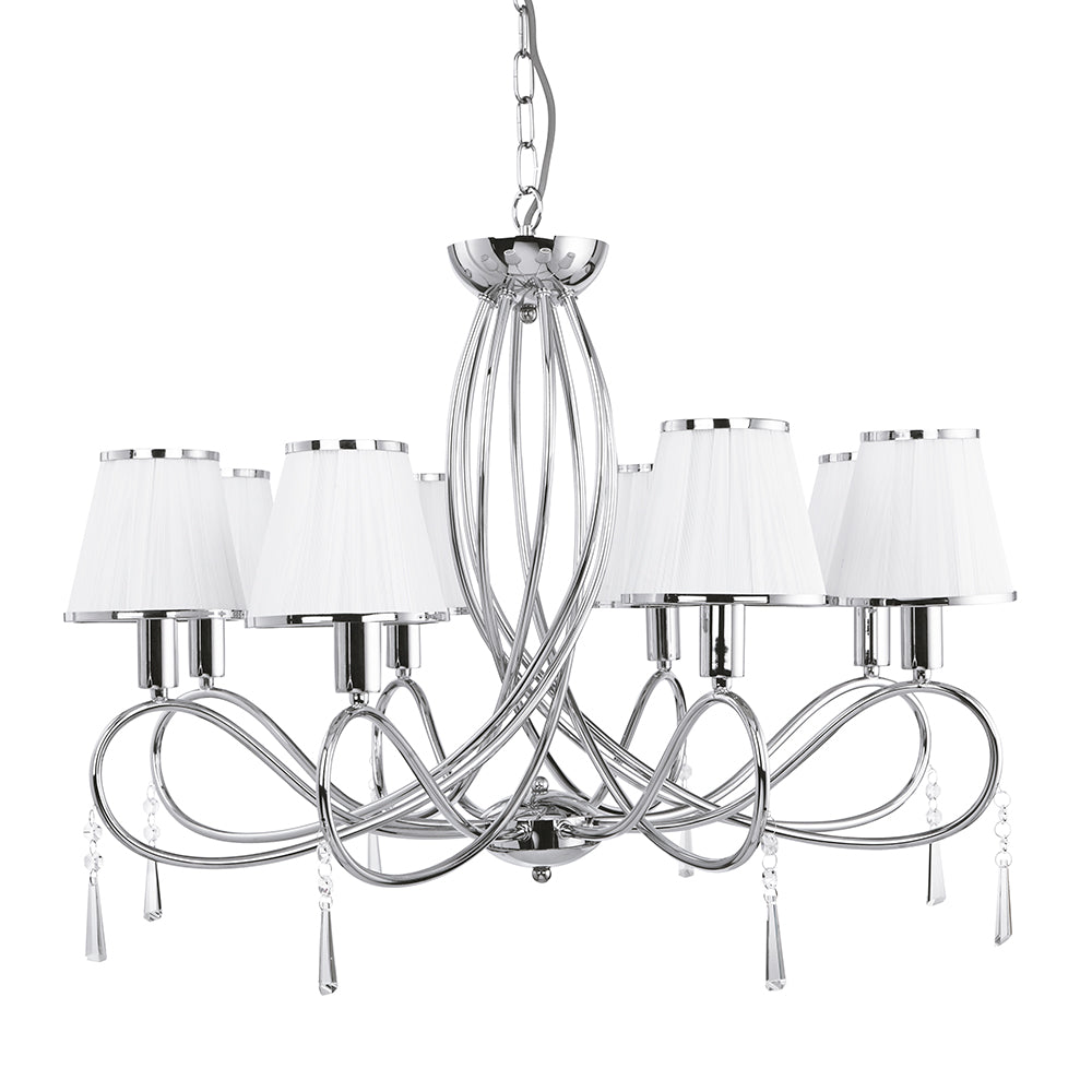 Simplicity 8 Lights Chrome White Shades Ceiling Fitting Chandelier