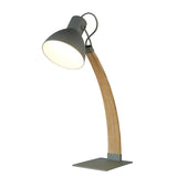 Nanna Rustic Ash Wood Matt Grey Head Arc Desk Study Table Lamp Light - Searchlight