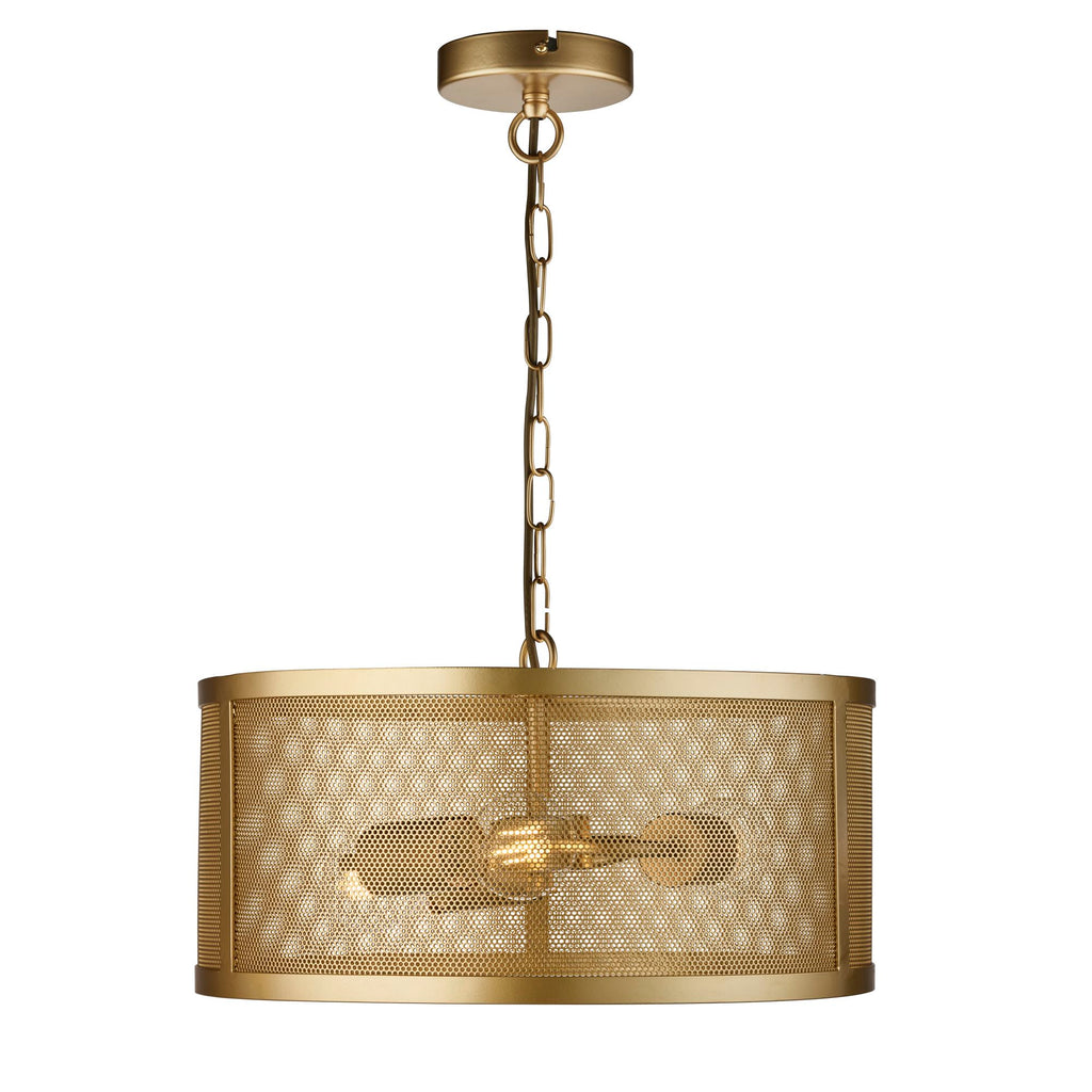 Searchlight Fishnet 3 Light Drum Pendant Matt Gold - Searchlight