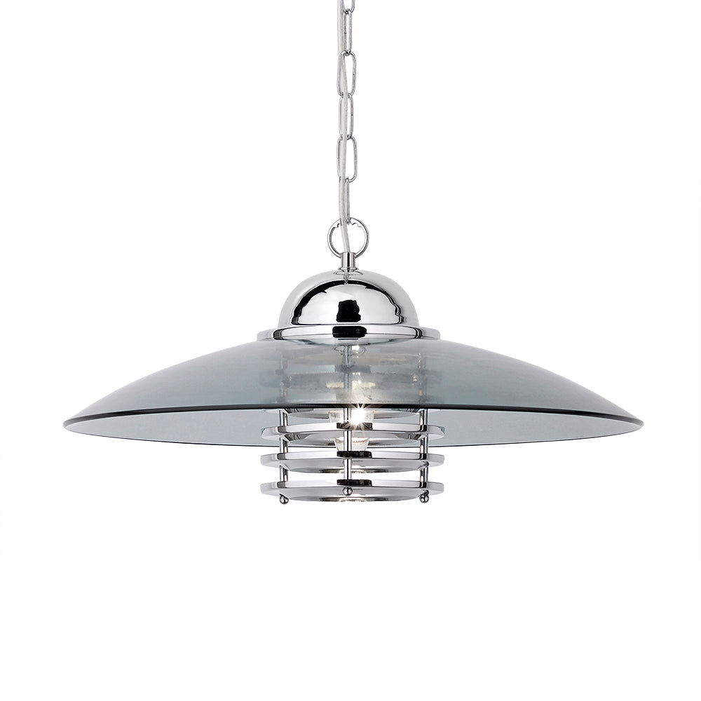 Coolie 1 Light Chrome Ceiling Pendant Light With Smoked Glass Shade - Searchlight