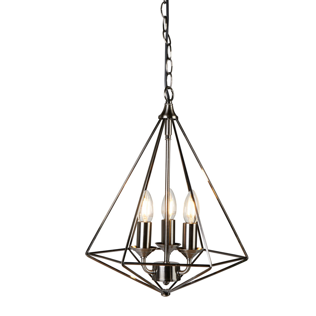 Diamond 3 Lights Pyramid Shaped Antique Silver Ceiling Pendant Light - Searchlight
