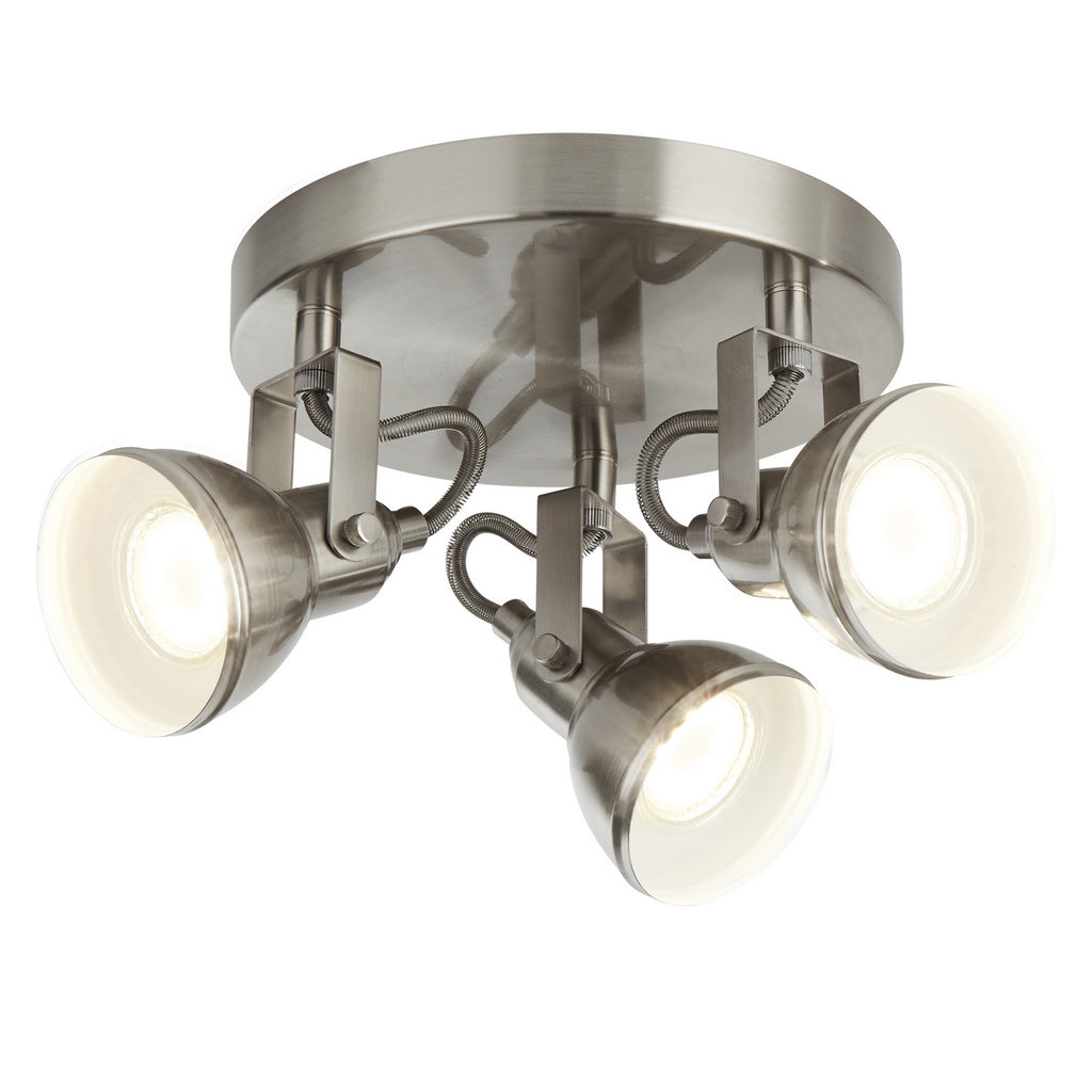 Focus 3 Lights Satin Silver Industrial Spotlight Disc Ceiling Light - Searchlight