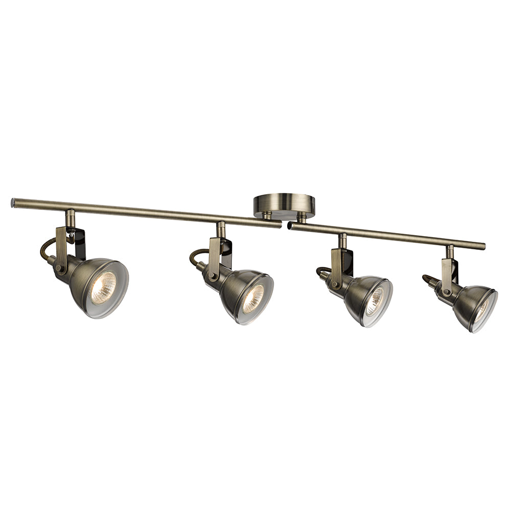Industrial 4 Light Antique Brass Halogen Split Bar Ceiling Spotlight