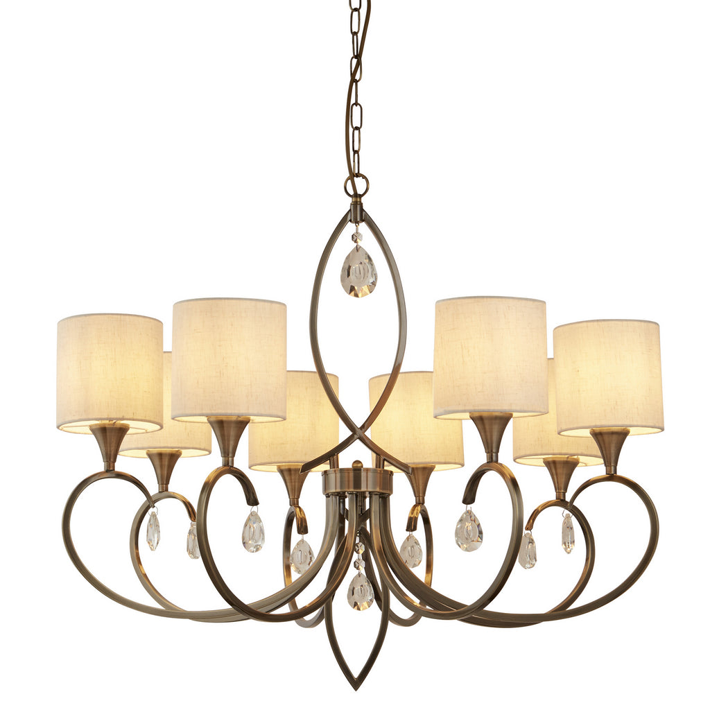 Alberto 8 Lights Antique Brass Linen Shades Ceiling Pendant Light
