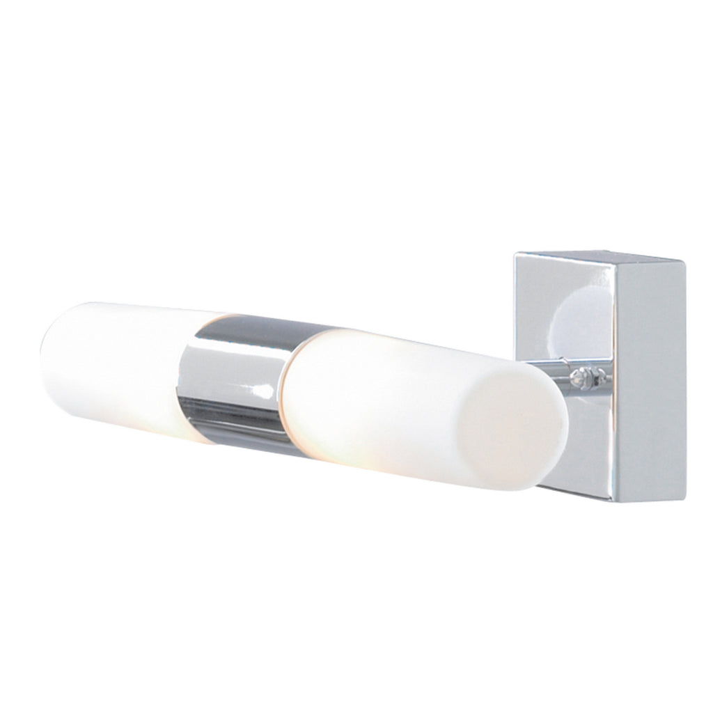 Lima 2 Light Chrome White Glass Bathroom Wall Bracket Bath Lighting - Searchlight