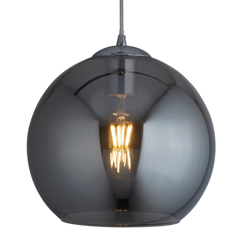 Balls Round Smoked Glass Shade Chrome Bright Ceiling Pendant Light - Searchlight