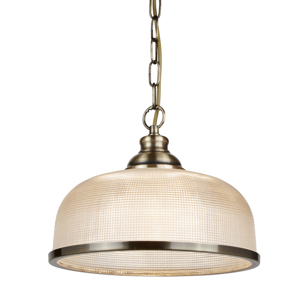 Bistro II Antique Brass Halophane Glass Shade Ceiling Pendant Light