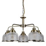 Bistro II 5 Lights Antique Brass Glass Shade Ceiling Pendant Light