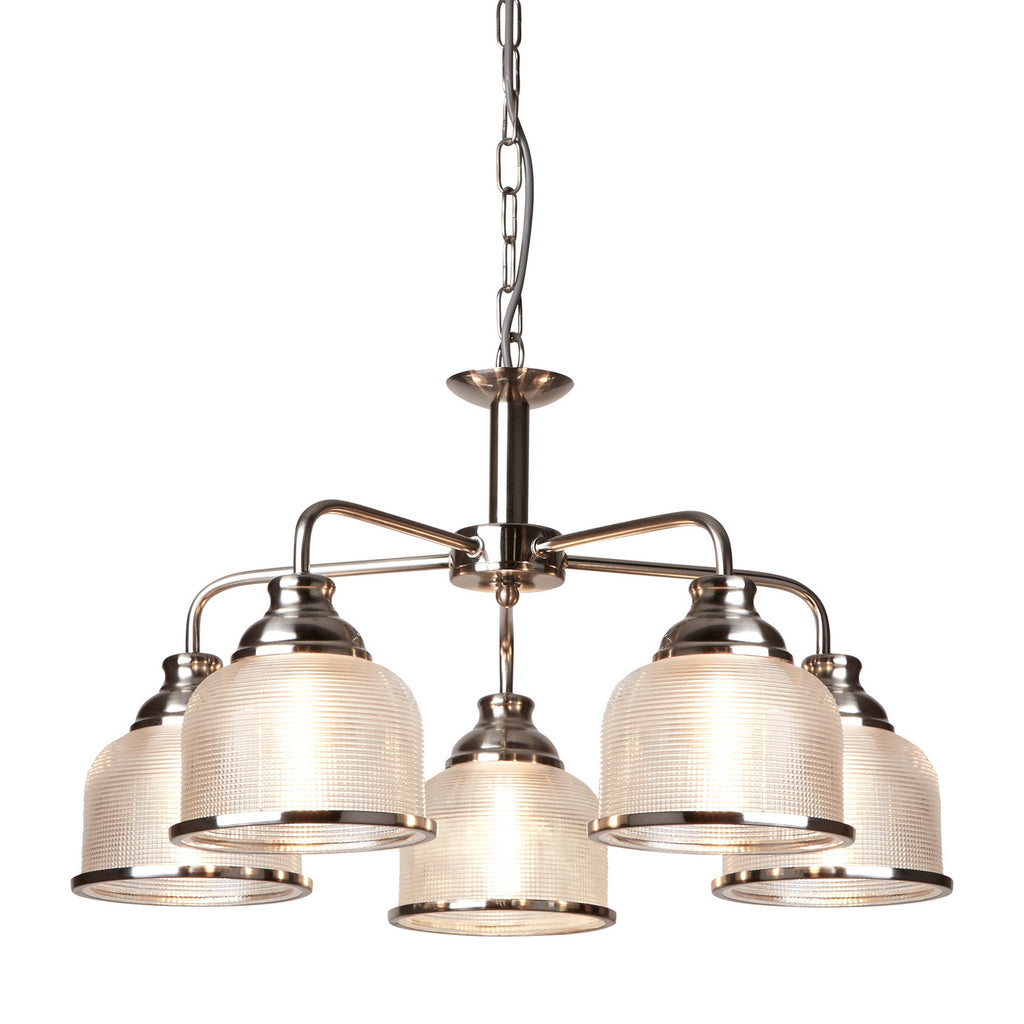 Bistro II 5 Lights Satin Silver Glass Shade Ceiling Pendant Light