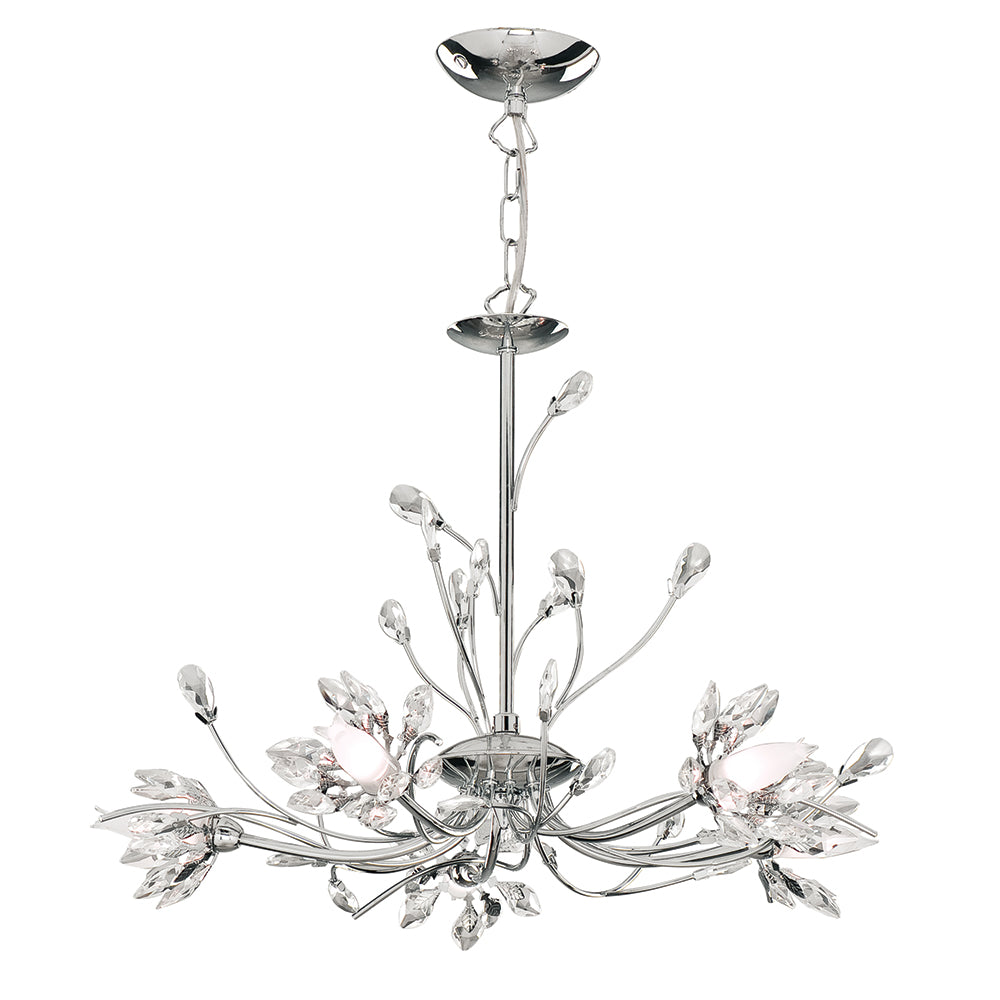 Hibiscus 5 Light Chrome Finish Crystal Chandelier w. Glass Shade