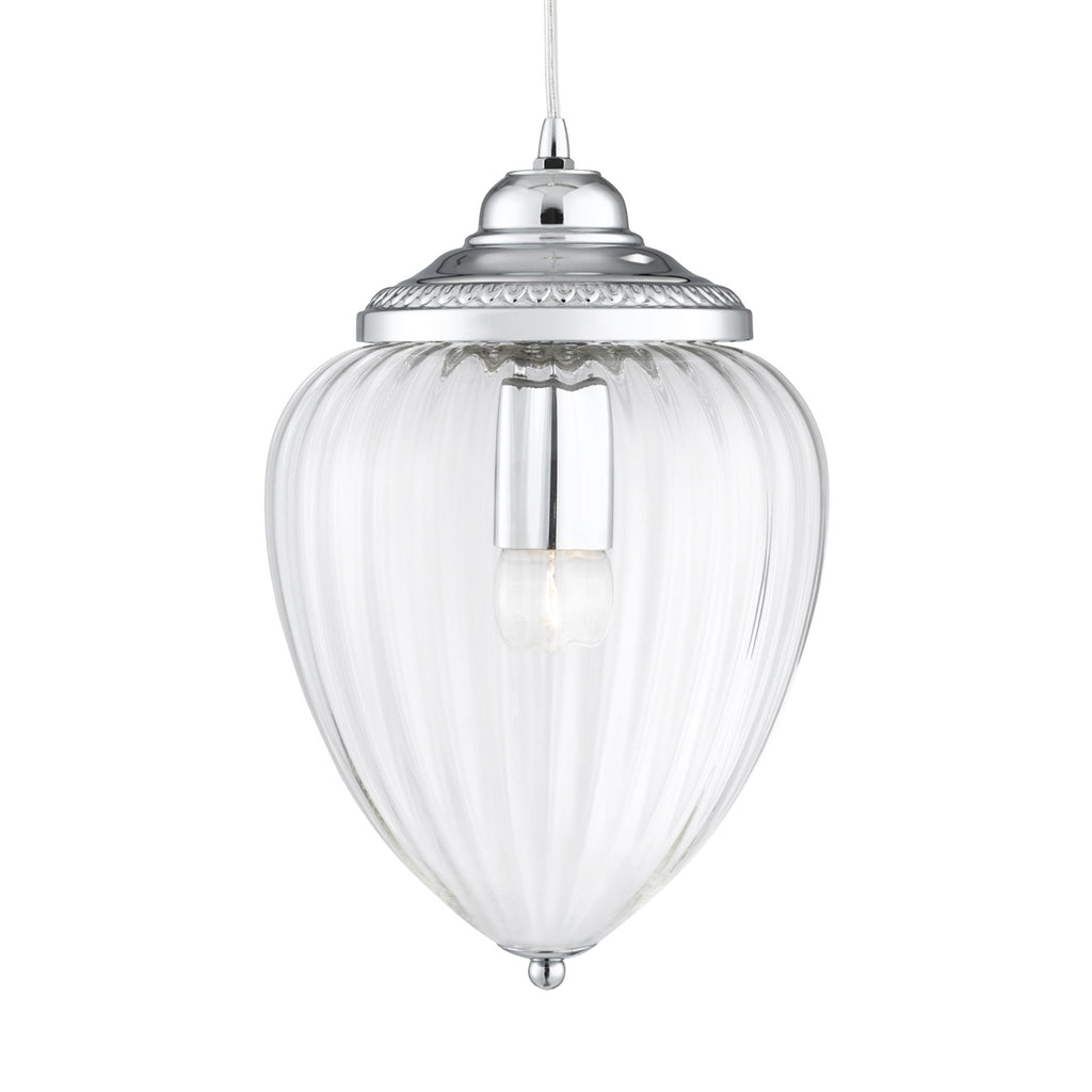 Linen 9 Lights Multi Drop Ribbed Shade Chrome Ceiling Pendant Light