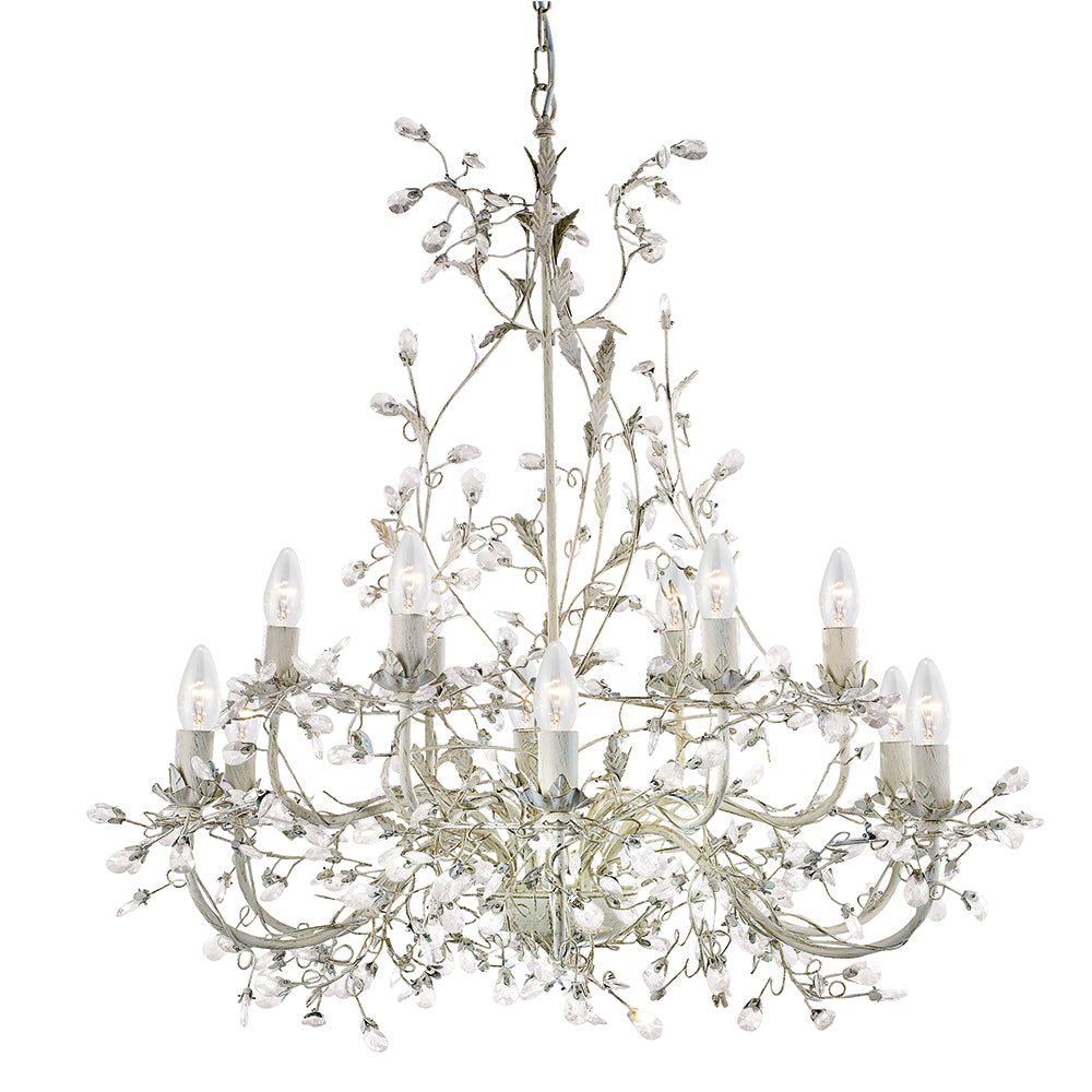 Almandite 12 Lights Cream Gold Crystal Ceiling Fitting Chandelier