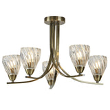 Ascona II 5 Light Antique Brass Ceiling Semi Flush Indoor Lighting