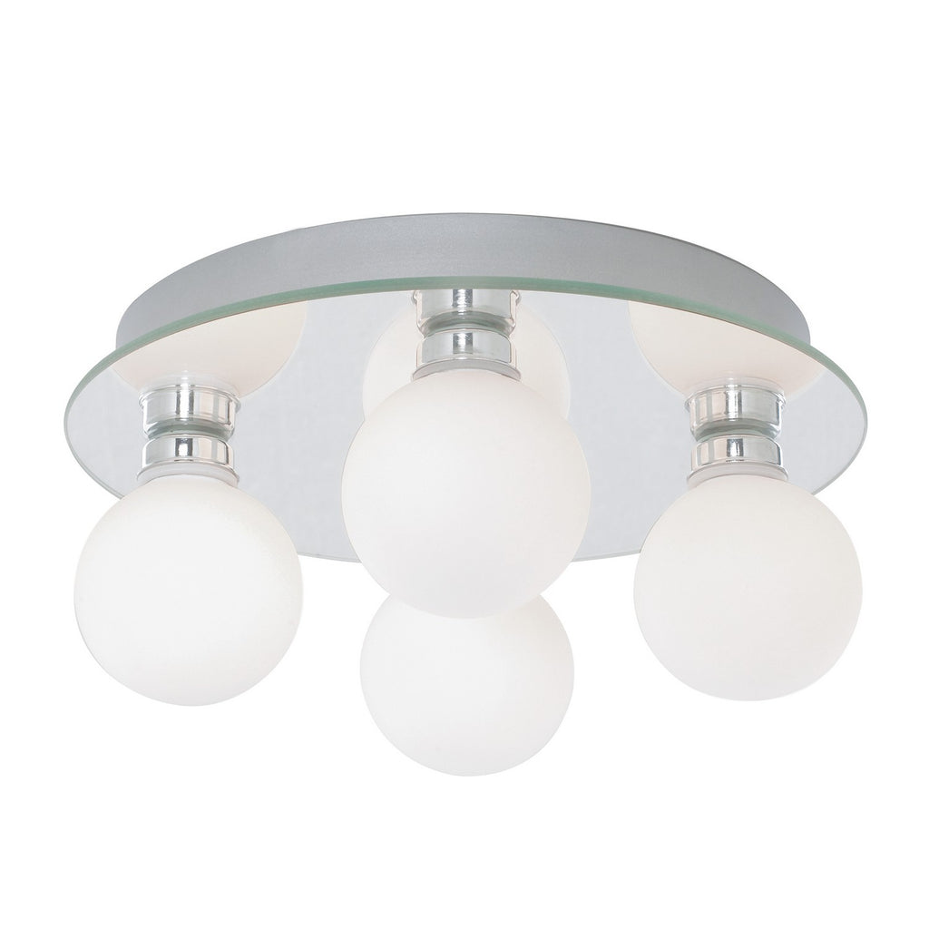 Globe 4 Lights LED Opal Glass Flush Bathroom Kitchen Ceiling Light