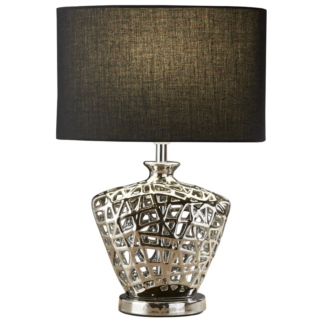 Modern Chrome Cut Out Decorative Base Table Lamp Black Oval Shade
