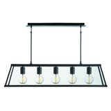 Voyager Matt Black 5 Light Lantern Bar Light