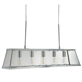 Voyager 5 Lights LED Clear Glass Silver Lantern Bar Ceiling Lighting