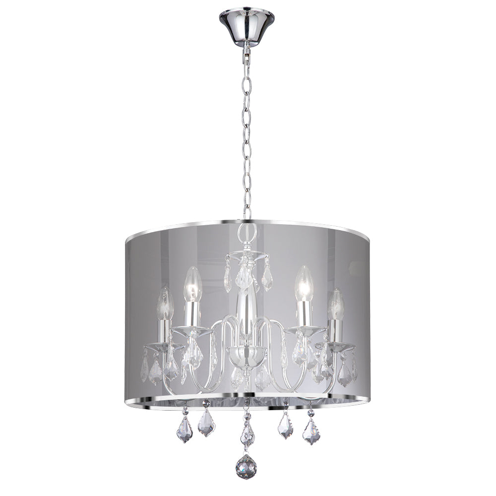 5 Lights Chrome Metallic Silver Shade Ceiling Fitting Chandelier