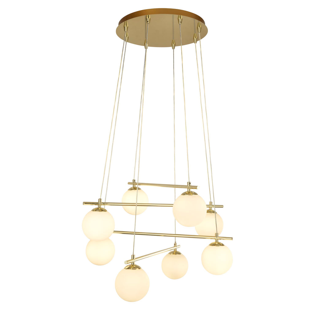 Searchlight Kris Cross Opal Ball With Gold Frame 8 Light Pendant