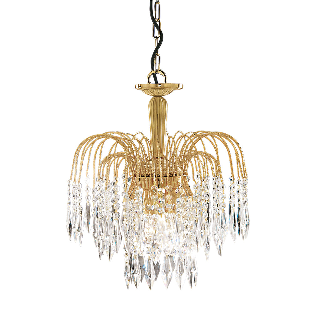 38cm 3 Light Crystal Waterfall Gold Plated Finish Ceiling Pendant
