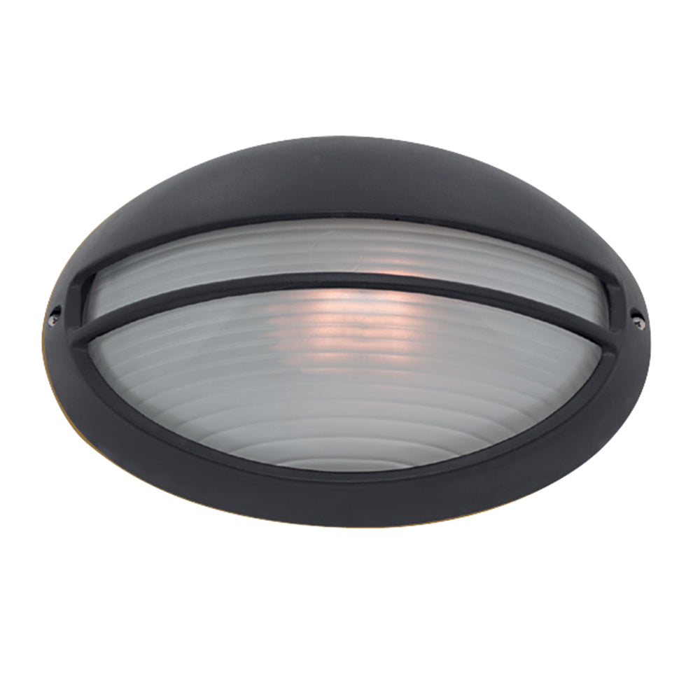 Black Oval Aluminium Bulkhead Glass Outdoor Porch Wall Bracket Light