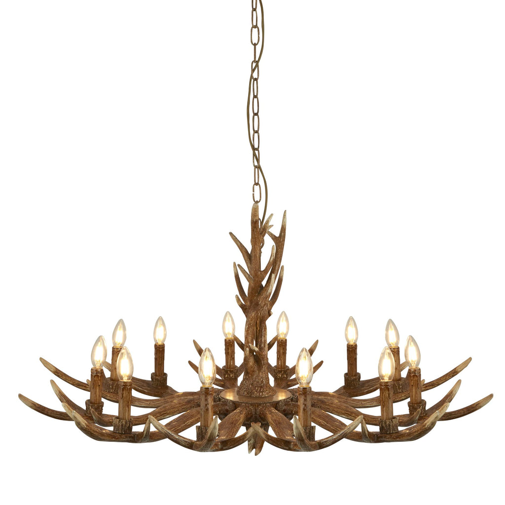 Searchlight Stag 12 Light Antler Pendant Brown