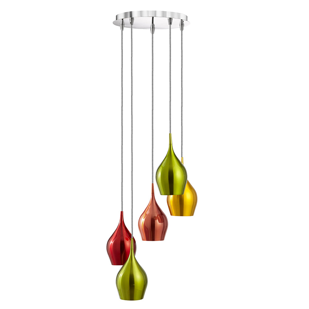 Vibrant 5 Ceiling Pendant Modern Light Multi-drop Coloured Shades