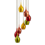 Vibrant 8 Ceiling Pendant Modern Light Multi-drop Coloured Shades